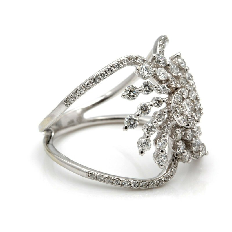 National Rarities 14K WHITE GOLD 1.00 CTW DIAMOND ORGANIC CUTOUT SHIELD RING SIZE 7 #JB35-7