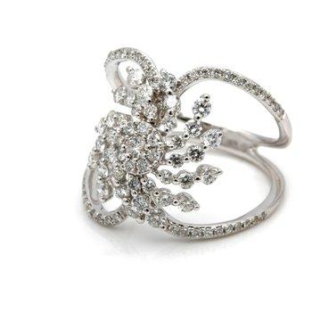 14K WHITE GOLD 1.00 CTW DIAMOND ORGANIC CUTOUT SHIELD RING SIZE 7 #JB35-7