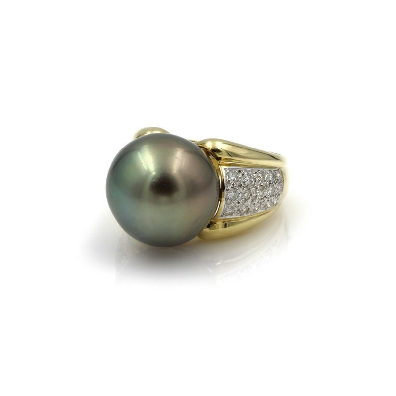 National Rarities 14K GOLD 15 MM TAHITIAN PEARL AND ROUND BRILLIANT DIAMOND COCKTAIL RING #E-216