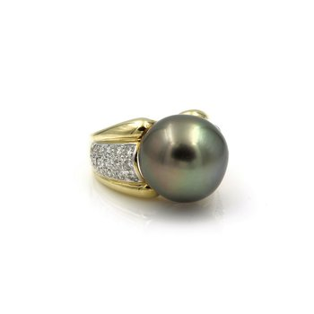 14K GOLD 15 MM TAHITIAN PEARL AND ROUND BRILLIANT DIAMOND COCKTAIL RING #E-216