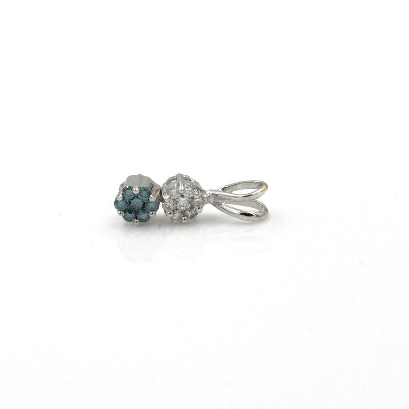 National Rarities 14K GOLD W/ .18 CTW BLUE AND WHITE DIAMOND FLUSH FLOWER PENDANT BIN #1021B-7