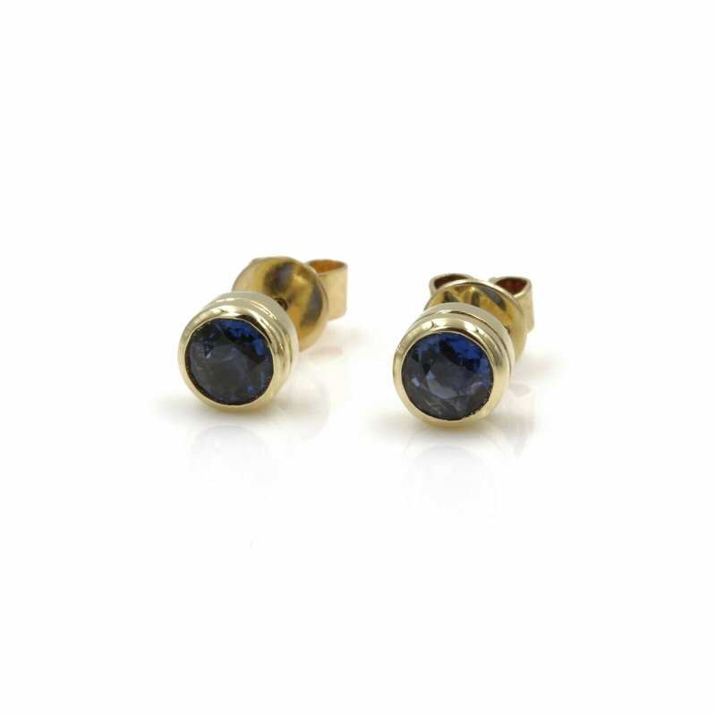 National Rarities 14K SOLID GOLD 1.60 CTW ROUND BEZEL SET SAPPHIRE STUD EARRINGS #986B-9