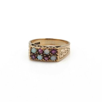 VINTAGE 9K ROSE GOLD OPAL AND RUBY ROUND CABOCHON FLORAL RING SIZE 7.75 #J5-8