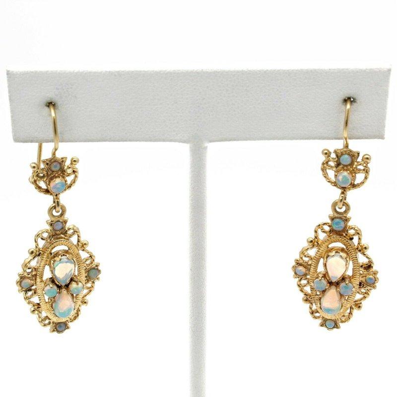 Antique ANTIQUE VICTORIAN 14K YELLOW GOLD OPAL CABOCHON DROP/DANGLE EARRINGS #JB71-6