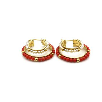 18K YELLOW GOLD BEADED ORANGE CORAL AND SEED PEARL HOOP EARRINGS #1088B-7