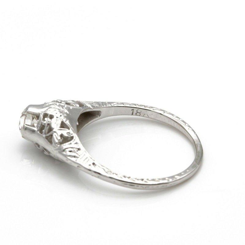 National Rarities ART DECO 18K WHITE GOLD OLD EUROPEAN CUT DIAMOND RING 0.40 CTW SIZE 5.75 JB36-8