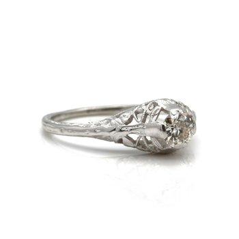 ART DECO 18K WHITE GOLD OLD EUROPEAN CUT DIAMOND RING 0.40 CTW SIZE 5.75 JB36-8