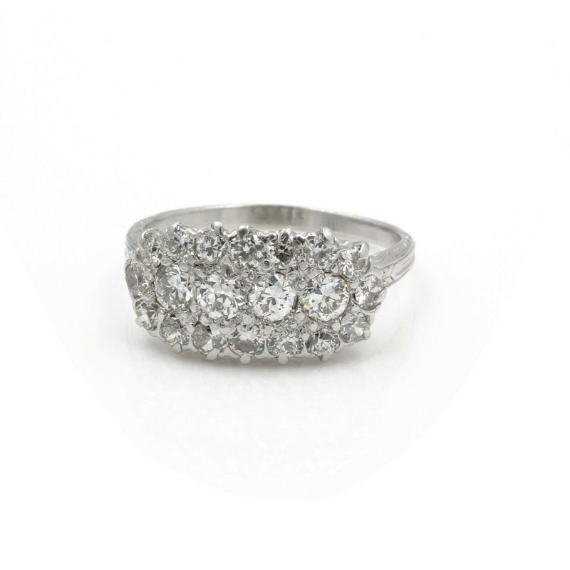 National Rarities VINTAGE PLATINUM ROUND OLD EURO DIAMOND CLUSTER RING SIZE 7 1.20CTW #E2003-2