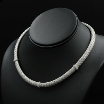 ROBERTO COIN 18K WHITE GOLD .58 CTW DIAMOND STATION WOVEN SILK NECKLACE #963B-5