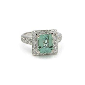 18K WHITE GOLD EMERALD CUT MINT TOURMALINE ROUND DIAMOND RING SIZE 6.25 #J962-5
