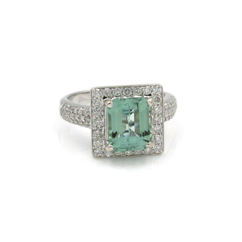 Emerald 18K WHITE GOLD EMERALD CUT MINT TOURMALINE ROUND DIAMOND RING SIZE 6.25 #J962-5