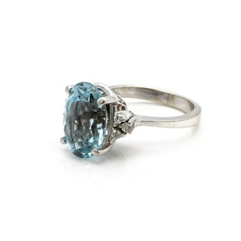 14k WHITE GOLD RING w/ TOPAZ MAINSTONE & .12 CTW DIAMOND ACCENTS SIZE 6.5 J6-6
