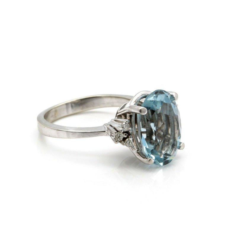 National Rarities 14k WHITE GOLD RING w/ TOPAZ MAINSTONE & .12 CTW DIAMOND ACCENTS SIZE 6.5 J6-6