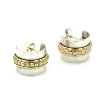 JAMES AVERY STERLING SILVER 14K YELLOW GOLD STUDDED SMALL HOOP EARRINGS #580B-9