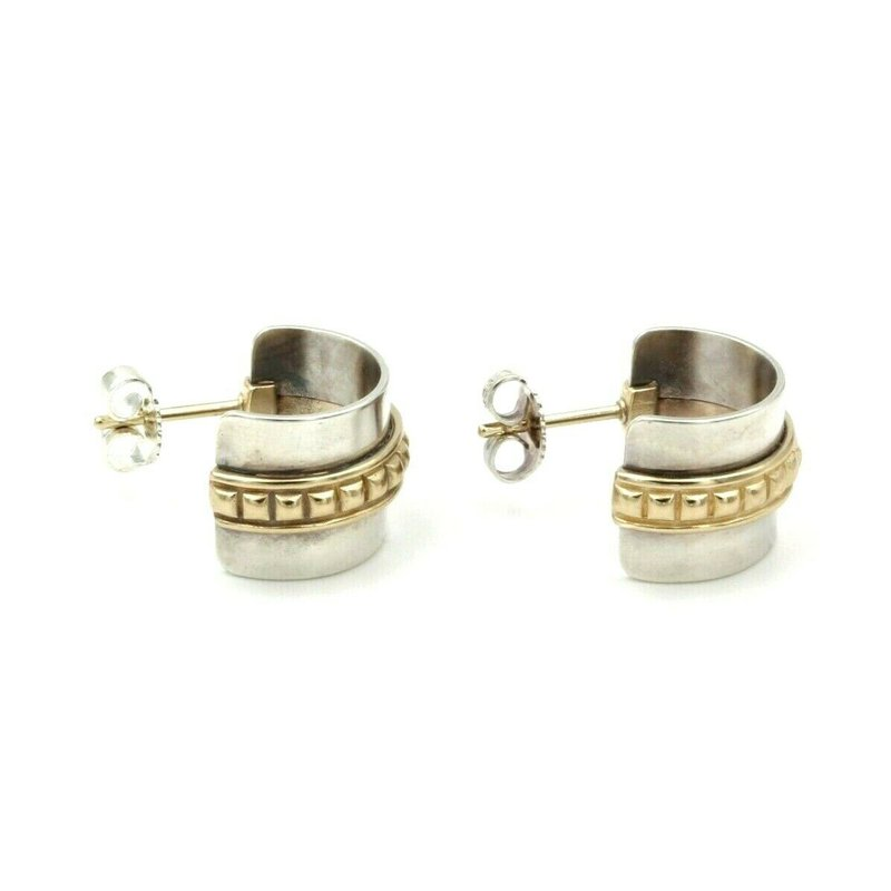 James Avery JAMES AVERY STERLING SILVER 14K YELLOW GOLD STUDDED SMALL HOOP EARRINGS #580B-9