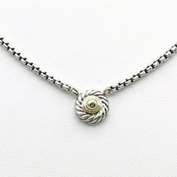 DAVID YURMAN COOKIE CLASSIC CIRCLE NECKLACE 14K GOLD STERLING SILVER D100-3