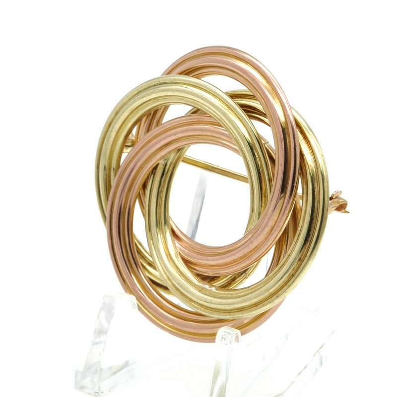 Tiffany Co TIFFANY AND CO. 18K YELLOW & ROSE GOLD LOVE KNOT SWIRL PIN/BROOCH #D1310-3