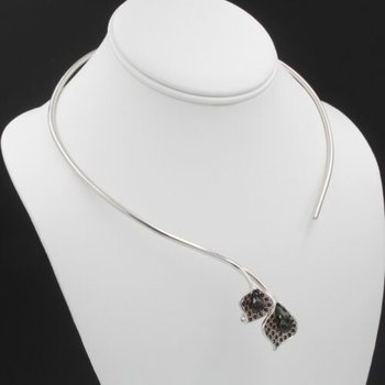SOUTH BOHEMIAN MOLDAVITE GARNET SILVER COLLAR CZECH MODERN GEM NECKLACE 1028B-10