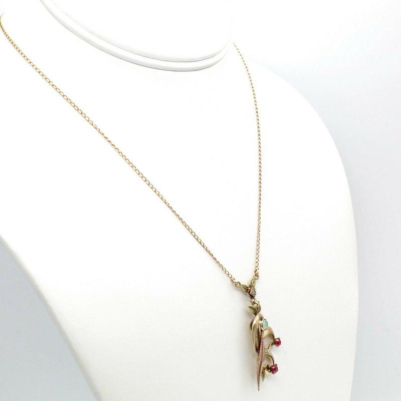 Estate VINTAGE 10K ROSE YELLOW GOLD OPAL DIAMOND RUBY ORGANIC PENDANT NECKALCE JB77-10