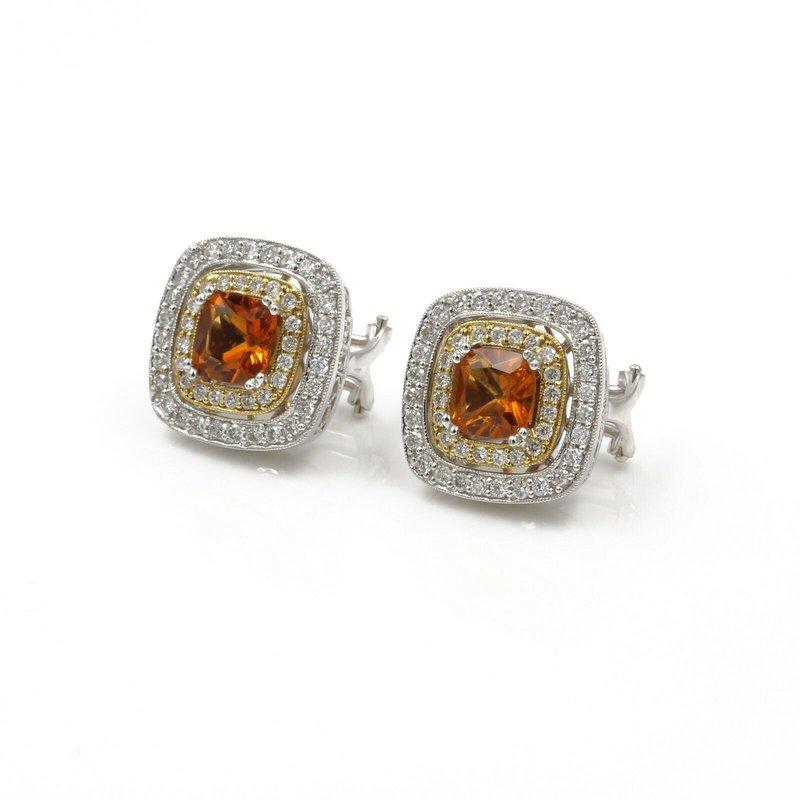 National Rarities 18K TWO TONE GOLD 4.10 CTW CUSHION CITRINE & DIAMOND DOUBLE HALO EARRINGS #H102