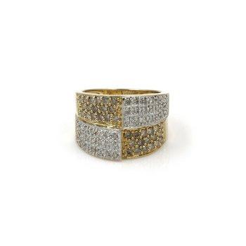 14K GOLD ~1 CTW CHAMPAGNE & WHITE DIAMOND PAVE MODERN STYLE RING SZ 6.5 #1003B-9