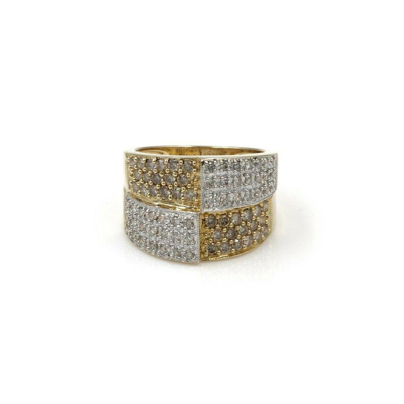 National Rarities 14K GOLD ~1 CTW CHAMPAGNE & WHITE DIAMOND PAVE MODERN STYLE RING SZ 6.5 #1003B-9