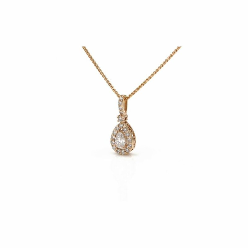 National Rarities STUNNING 14K ROSE GOLD PEAR SHAPE DIAMOND .38CT DROP PENDANT NECKLACE #1015B-8