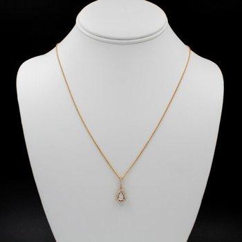 STUNNING 14K ROSE GOLD PEAR SHAPE DIAMOND .38CT DROP PENDANT NECKLACE #1015B-8
