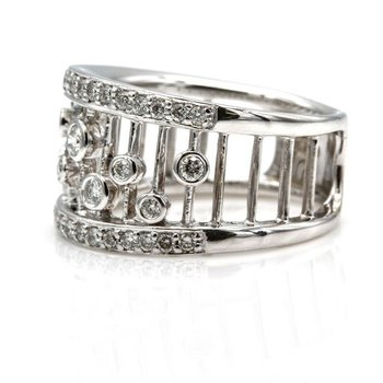 14K GLITZY SLEEK DIAMOND RING WIDE BAND DESIGN WHITE GOLD RBC DIAMONDS #1025B-6