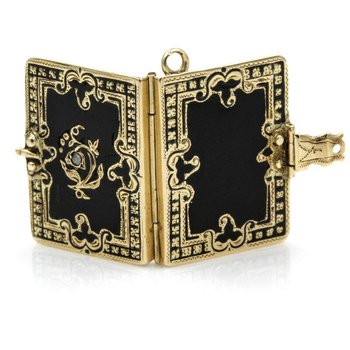ANTIQUE 14K BLACK ENAMELED AND ROSE CUT DIAMOND VICTORIAN LOCKET- 965B-7