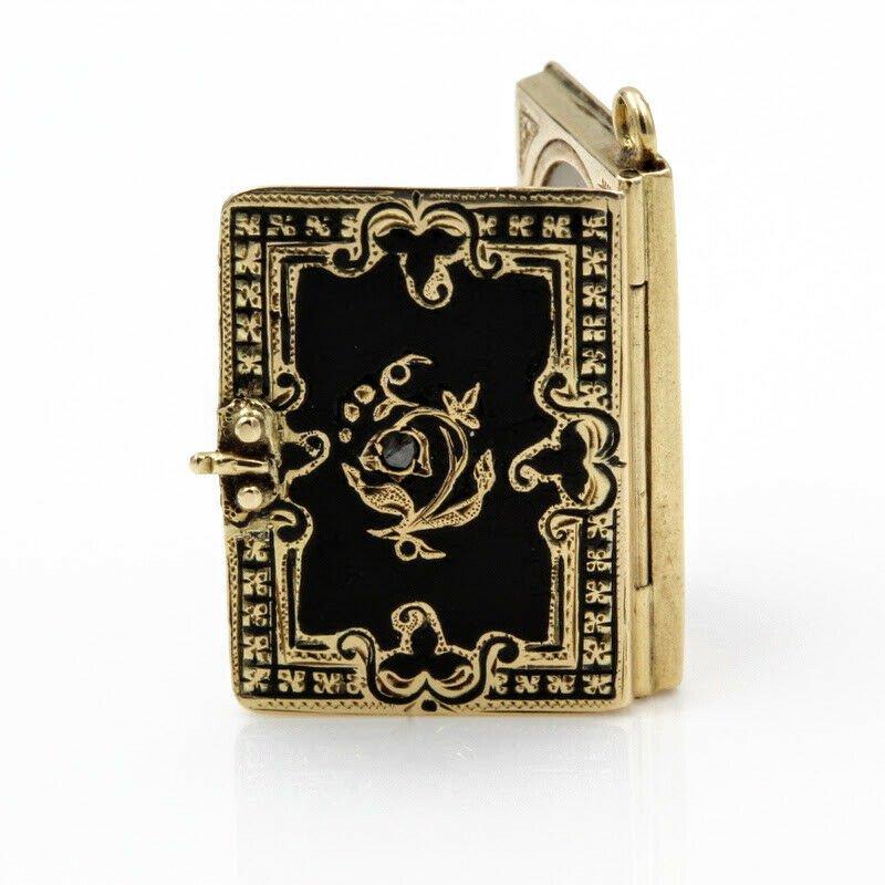 Unbranded ANTIQUE 14K BLACK ENAMELED AND ROSE CUT DIAMOND VICTORIAN LOCKET- 965B-7