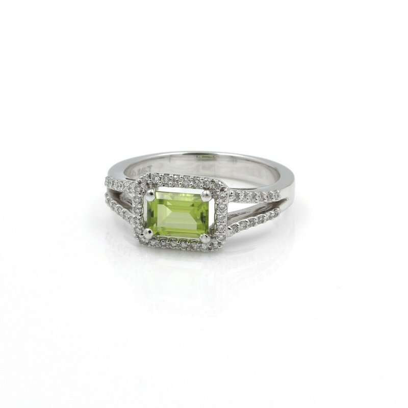 National Rarities 14K WHITE GOLD EMERALD CUT PERIDOT & ROUND DIAMOND ACCENT RING 1.37 CTW J1-10
