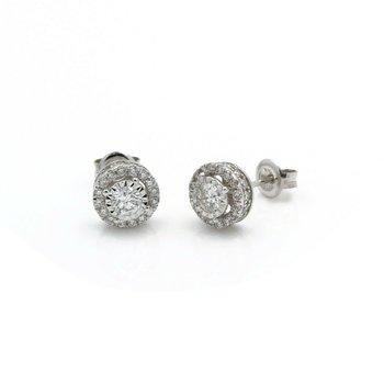 14K WHITE GOLD 1.16 CTW DIAMOND STUNNING HALO STUD SOLITARE EARRINGS #J2-2
