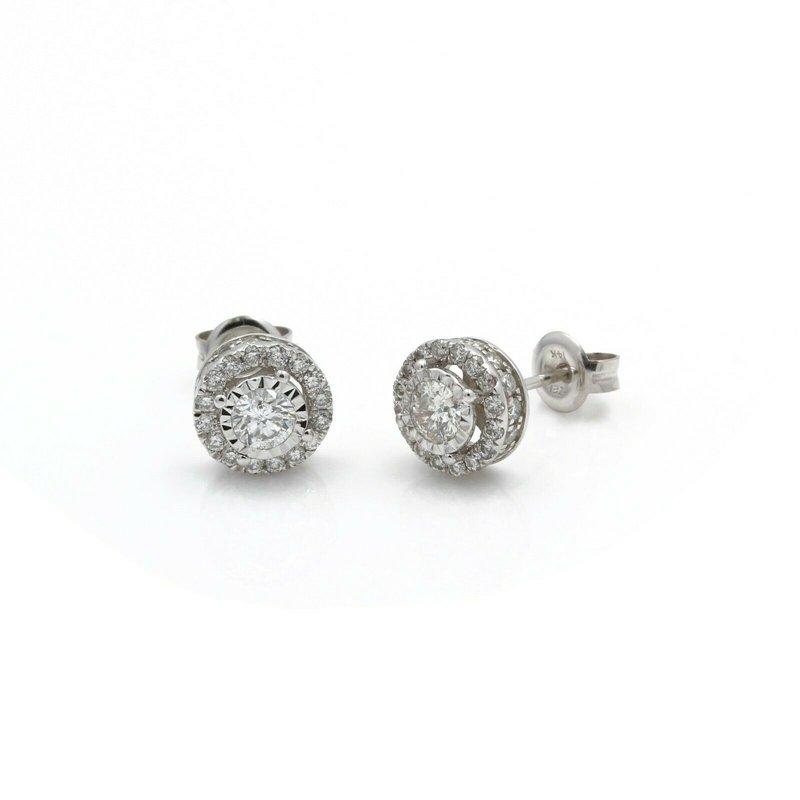 Halo 14K WHITE GOLD 1.16 CTW DIAMOND STUNNING HALO STUD SOLITARE EARRINGS #J2-2