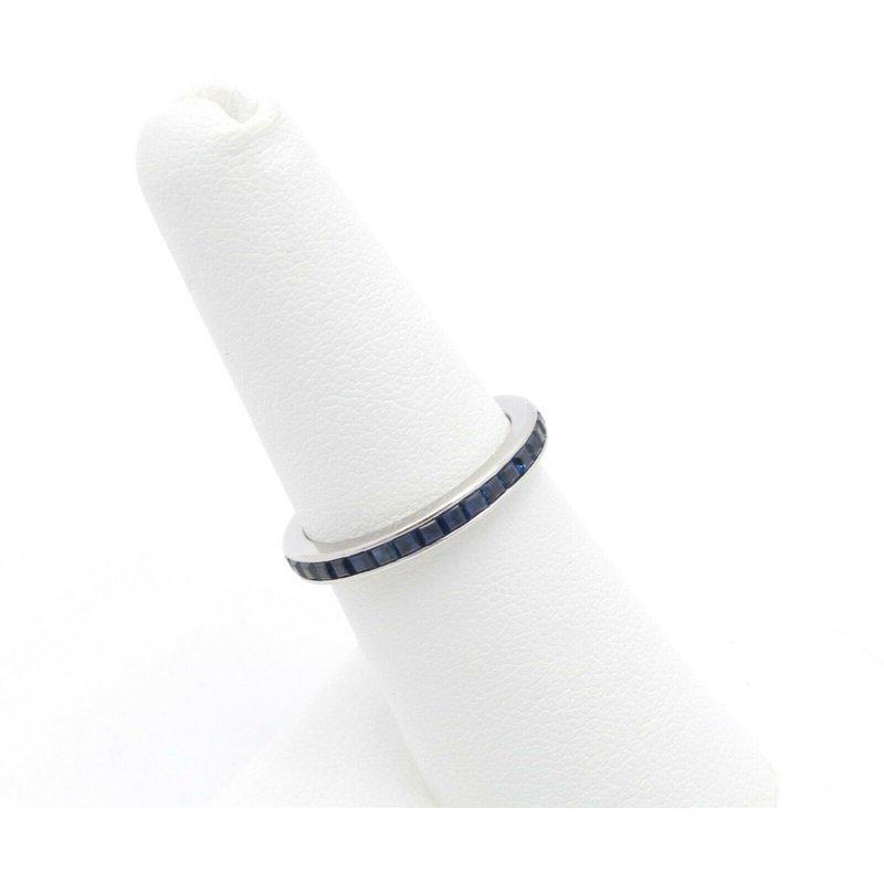Eternity PLATINUM BLUE SAPPHIRE SQUARE CUT CHANNEL SET ETERNITY BAND SIZE 6.5 #JB22-5
