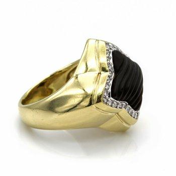 DAVID YURMAN 18K YELLOW GOLD QUATREFOIL ONYX DIAMOND RING SIZE 6.5 #D535-5