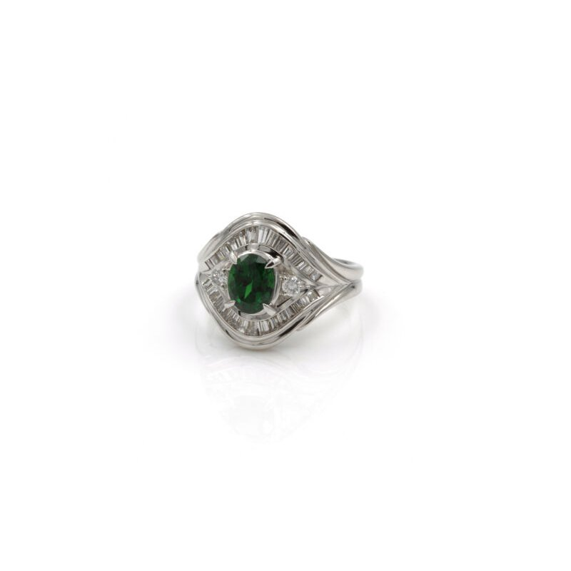 National Rarities PLATINUM 1.75 CTW OVAL TSAVORITE GARNET BAGUETTE ROUND DIAMOND RING #E-316