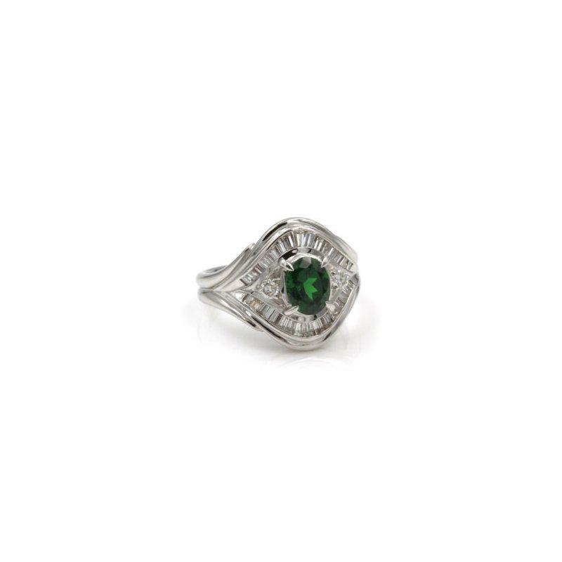National Rarities PLATINUM 1.75 CTW OVAL TSAVORITE GARNET BAGUETTE ROUND DIAMOND RING #E-316