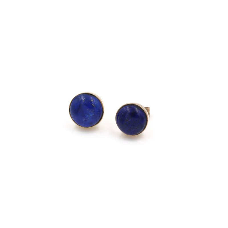 National Rarities 14K STUNNING LAPIS LAZULI CABOCHON  YELLOW GOLD STUD EARRINGS LOVELY #1026B-10
