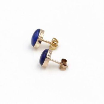 14K STUNNING LAPIS LAZULI CABOCHON  YELLOW GOLD STUD EARRINGS LOVELY #1026B-10