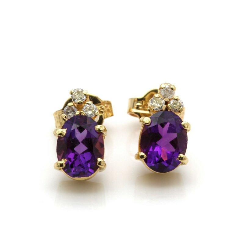 National Rarities 18k GOLD STUD EARRINGS w/ AMETHYST GEMSTONES & .21  CTW DIAMOND ACCENTS BIN J6-8