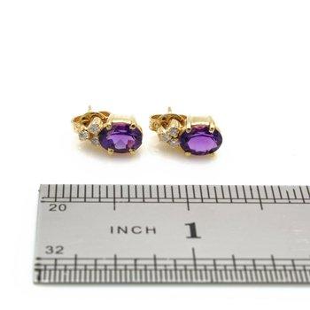 18k GOLD STUD EARRINGS w/ AMETHYST GEMSTONES & .21  CTW DIAMOND ACCENTS BIN J6-8