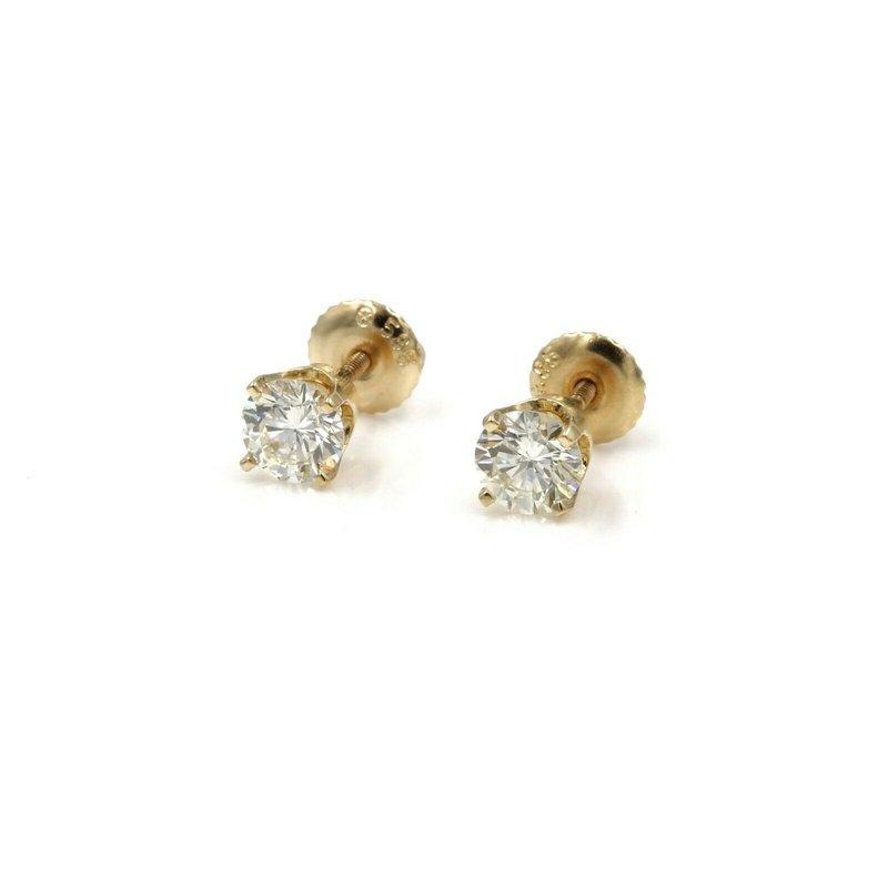 National Rarities 14K YELLOW GOLD & DIAMOND SOLITAIRE STUD EARRINGS 1.00 CTW NO RESERVE #1007B-1