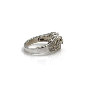 18K WHITE GOLD .98CTW RD DIAMOND MILGRAIN PIERCED GARLAND STYLE RING 6.5 #999B-8
