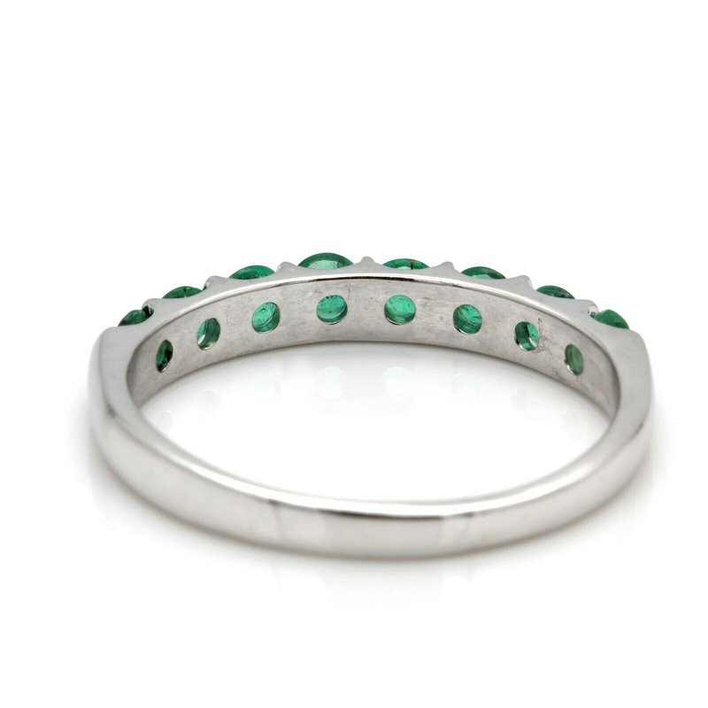 Unbranded 14K WHITE GOLD NATURAL ROUND EMERALD CHANNEL BAR RING SIZE 8.50 #JB41-6