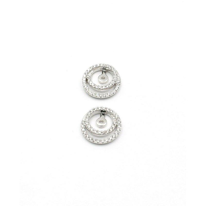 National Rarities 14K WHITE GOLD .38 CTW ROUND WHITE DIAMOND DOUBLE HOOP EARRING JACKETS #JB31-7