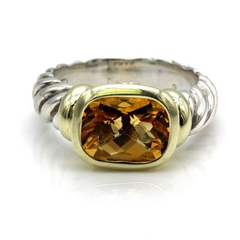 DAVID YURMAN NOBLESSE CITRINE RING TWO TONE STERLING SILVER 14K YELLOW GOLD NR