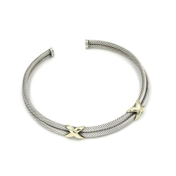 DAVID YURMAN DOUBLE CABLE X COLLAR 18K YELLOW GOLD & STERLING SILVER 925 1028B-6