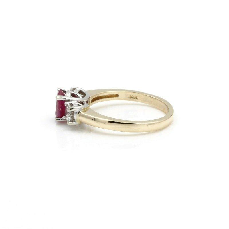 Effy EFFY 1.05 CT RUBY .50 CTW DIAMONDS 3-STONE YELLOW & WHITE GOLD RING SIZE 7 D26-3