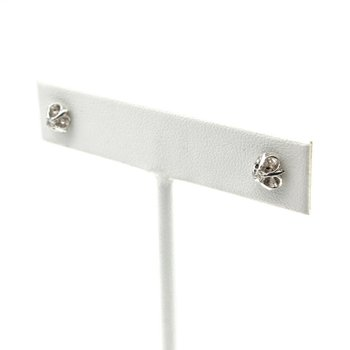 VINTAGE 14K WHITE GOLD SINGLE CUT DIAMOND STUD EARRINGS 0.12 CTW JB23-4